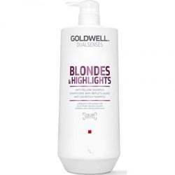 "Шампунь ""Goldwell Dualsenses Blondes & Highlights Anti-Yellow Shampoo"" 1000мл против желтизны для осветленных волос - фото 12558"