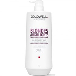 """Кондиционер """"Goldwell Dualsenses Blondes & Highlights Anti-Yellow Conditioner"""" 1000мл против желтизны для осветленных и мелированных волос - фото 12560"""